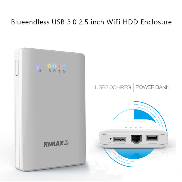 wireless hdd box 4000mah Power Bank USB 3.0 to sata 2.5 inch 2TB storage with router WiFi laptop hdd cases drop shipping  U25AWF