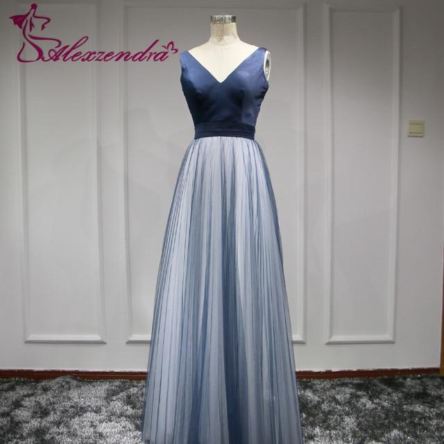 938056d20 Fotos reales de Color Azul Marino Largo Tul Vestidos de Baile Spaghetti  Straps Diseño Único Vestido