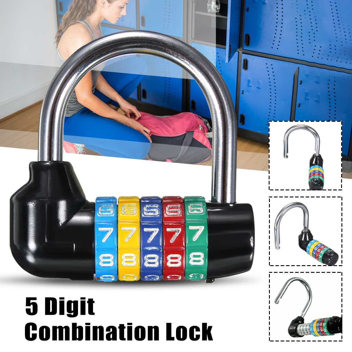 Zinc Alloy 5 Dial Digit Number Code Password Lock Combination Travel Security Safely  Combination Padlock Approx 66x66x20mmZinc Alloy 5 Dial Digit Number Code Password Lock Combination Travel Security Safely  Combination Padlock Approx 66x66x20mm