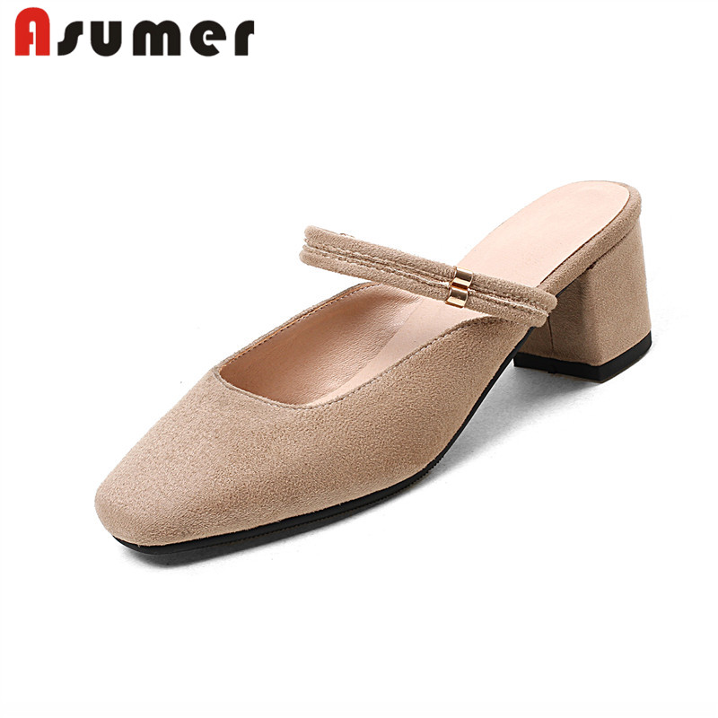 ASUMER Women Sandals New-Arrive Thick-Heels Square Toe Comfortable Fashion Elegant Lace-Up