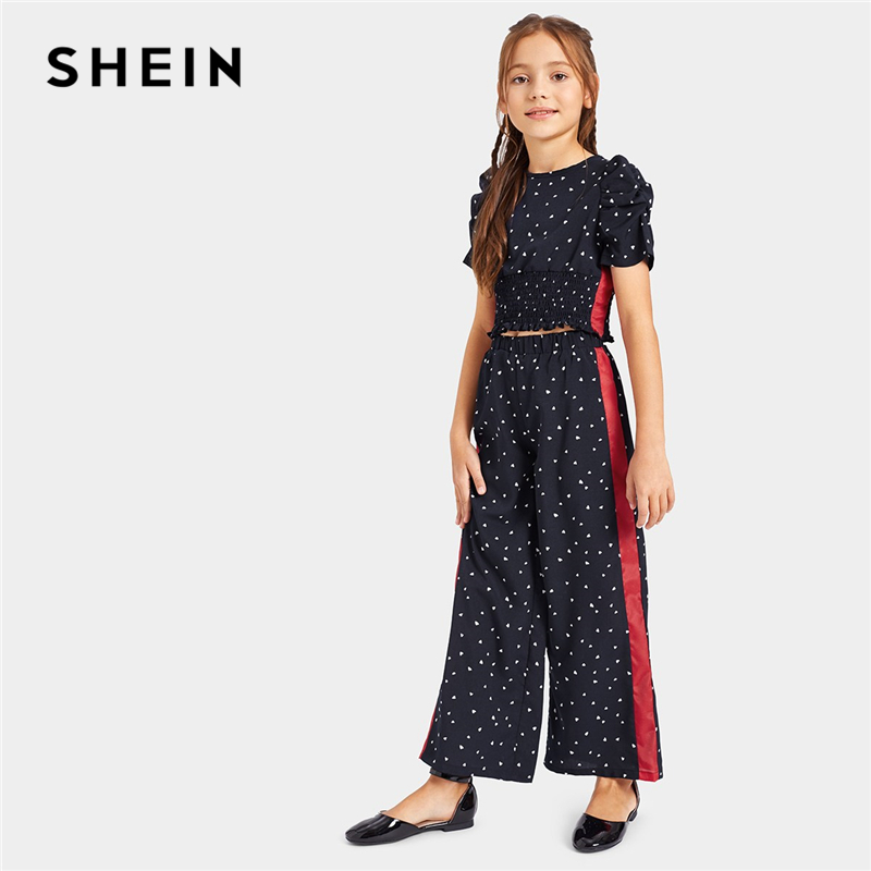 SHEIN Kiddie Navy Contrast Panel Ruched Top And Wide Leg Pants Two Piece Set Kids 2019 Summer Puff Sleeve Girls Clothes Sets tartan plaid contrast sleeve coat