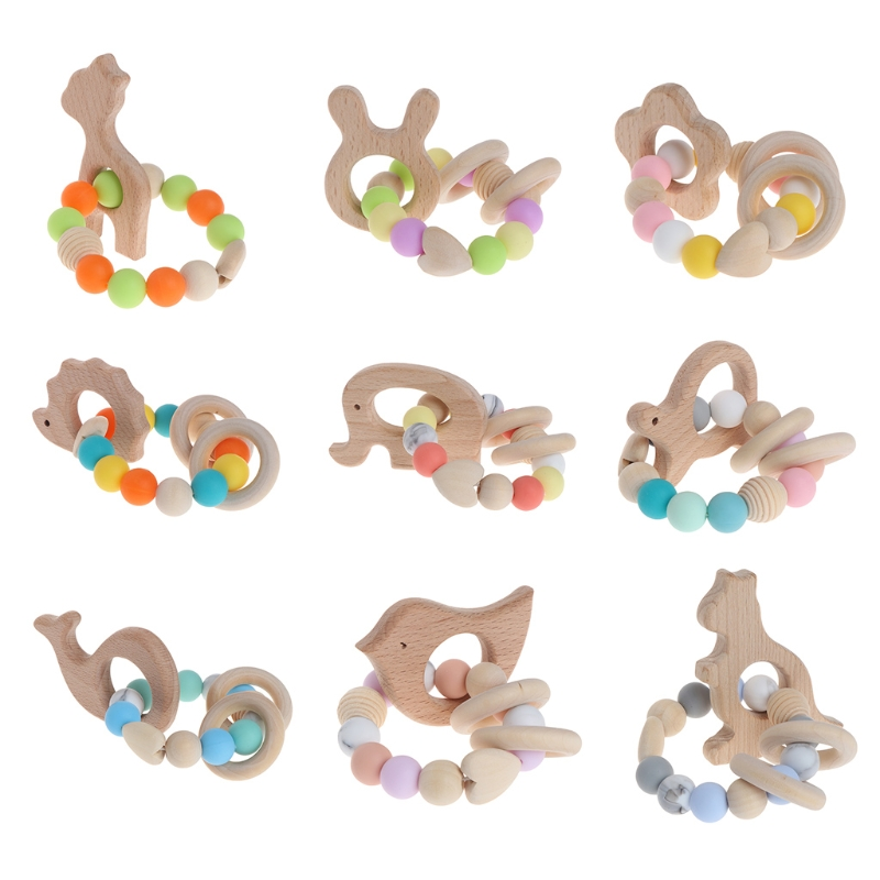 Baby Nursing Bracelets Wooden Teether Newborn Silicone Chew Beads Rattles Toys