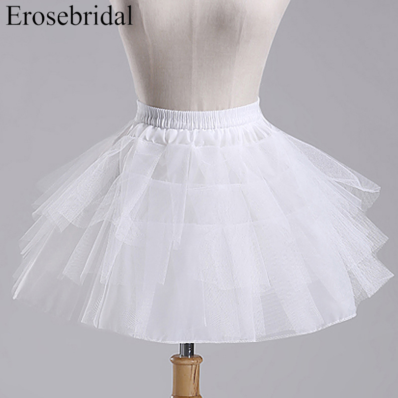 24 Hours Shipping White Tulle Girls Petticoat Slip With No Hoop Short Underskirt For Ball Wedding Dress 2019 New Arrival