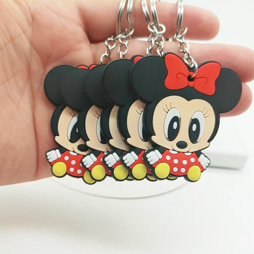 Paylor Cute Car Keychain Minnie Bow Shaped Key Ring Mouse Cartoon Anime Key Chain Bag Pendant Jewelry