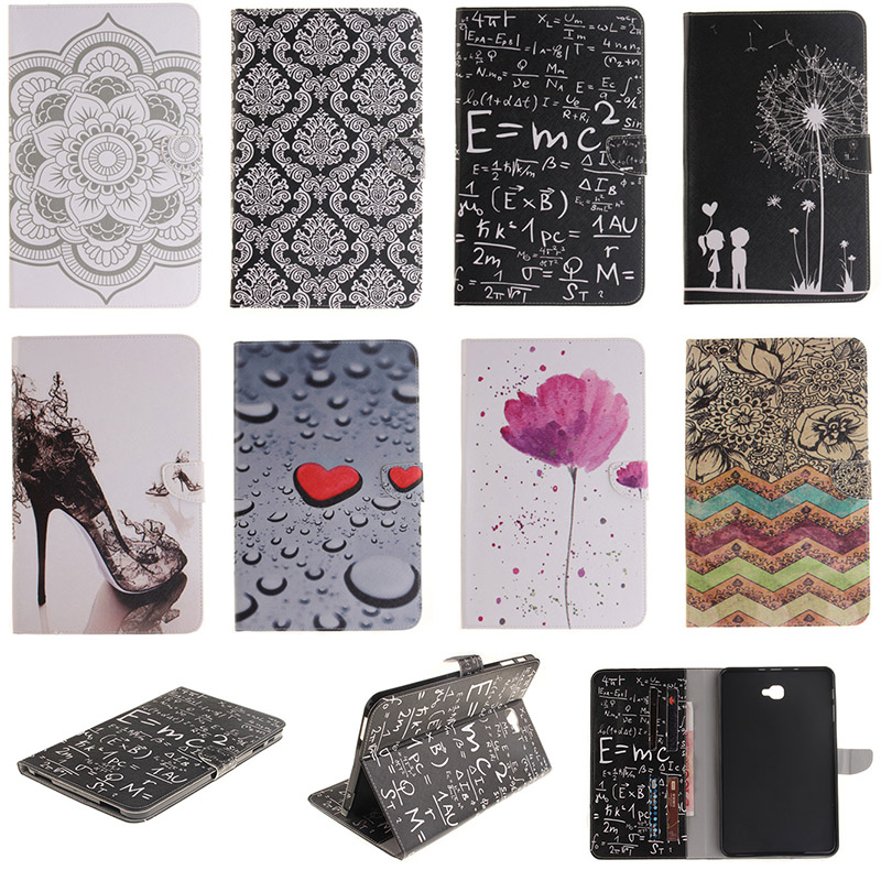 Fashion PU Leather Cover For Samsung Galaxy Tab A 10.1 (2016) T580 SM-T580 Case Wallet Style with Card Slot Tablet Flip Stand цена