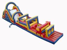 Most Popular 0.55mm PVC Tarpaulin giant inflatable obstacle course,cheap slide combo adventure,outdoor bouncy obsacle course