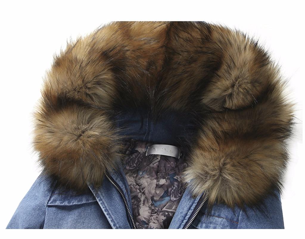 Blue Long Casacas Femmes Mujer Coton Ouatée Épais D'hiver Jean Denim Veste Para Kj769 Parkas Parka Pardessus Manteau Ayunsue wX6nTUq1E