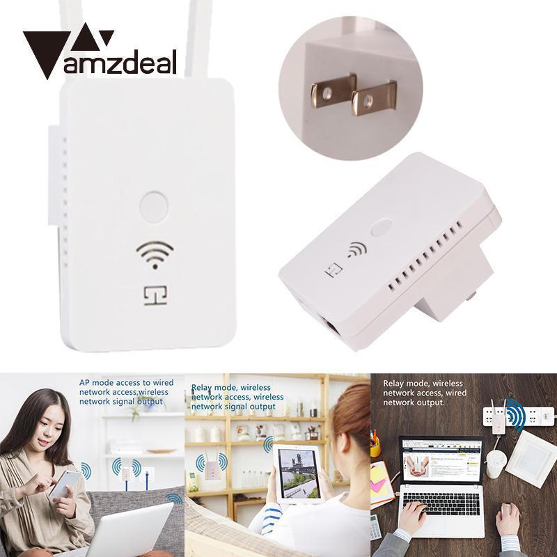 AMZDEAL Wifi Repeater Wireless Network Signal Amplifier Wireless Repeater Signal Booster Universal Smart Dual Antenna