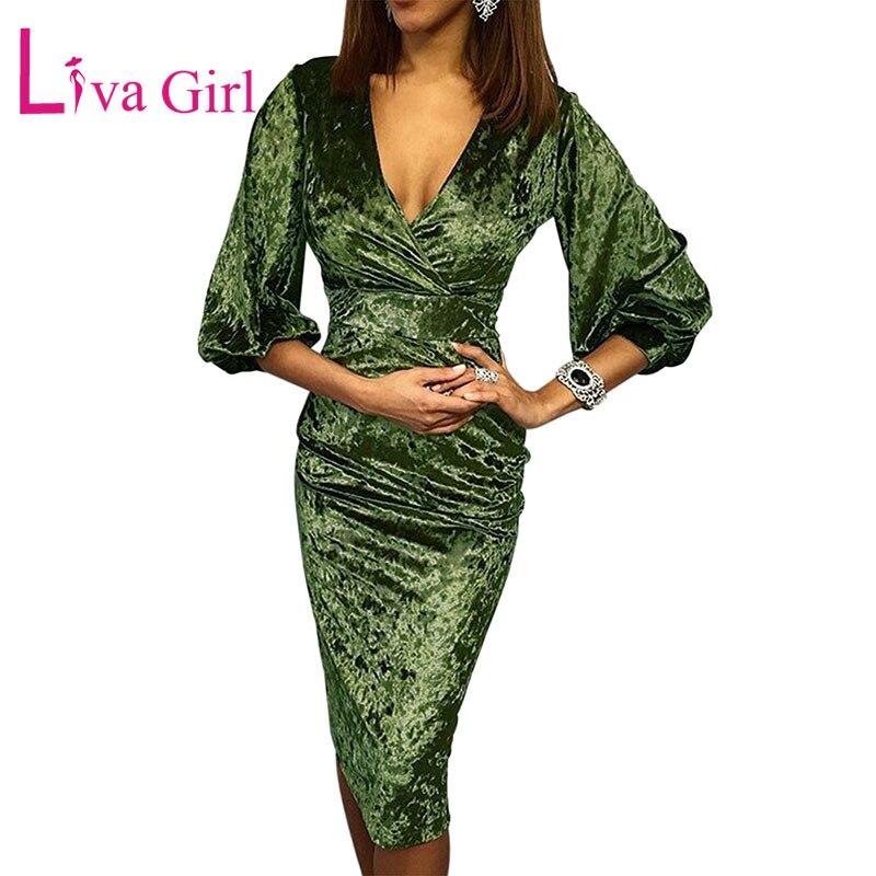 Green-Glistening-V-Neck-Velvet-Midi-Dress-LC611048-9-1