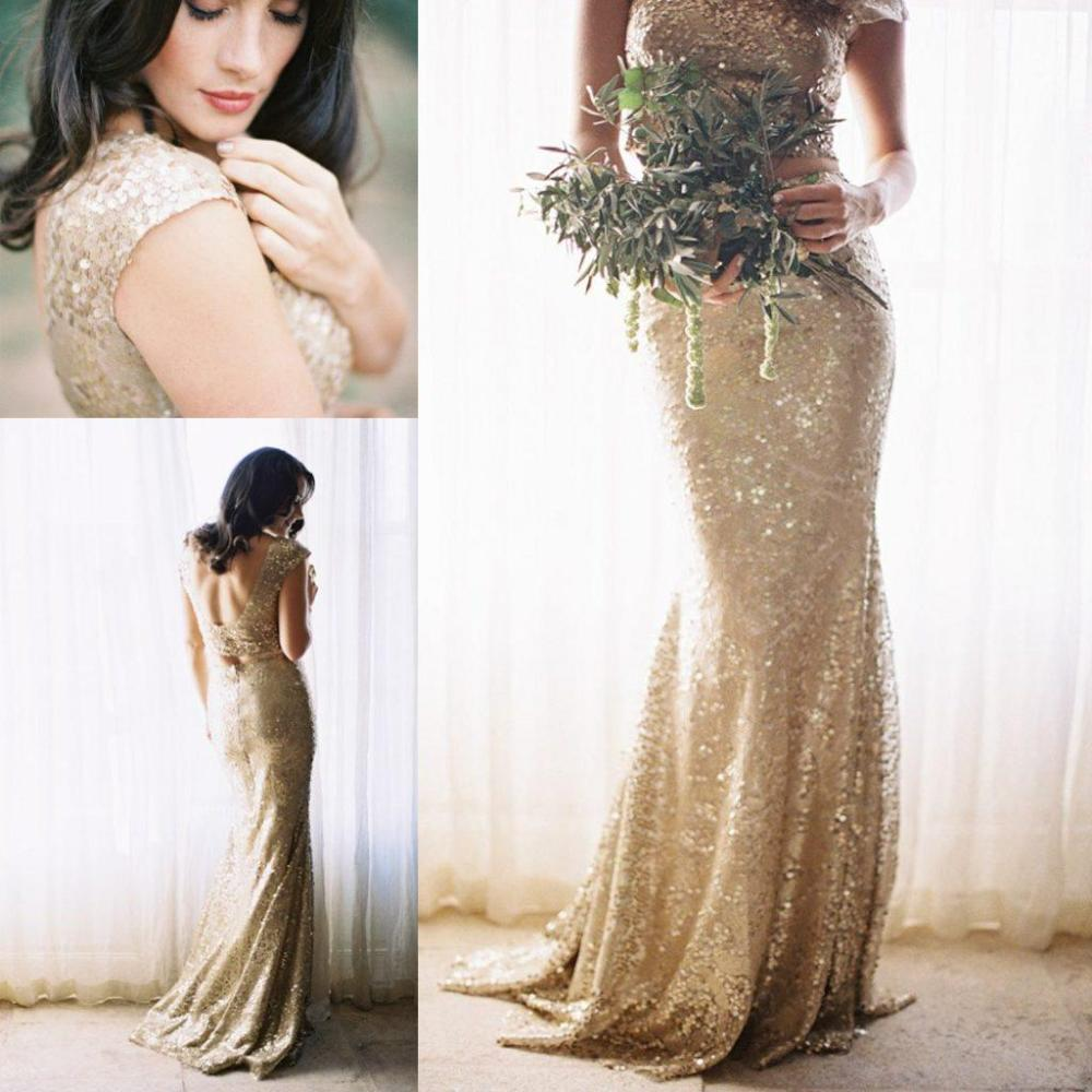 Two Piece Gold Sequin Bridesmaid Dresses 2016 Scoop A Line