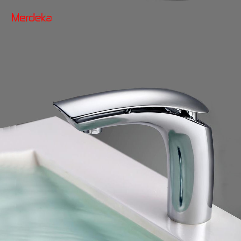 Merdeka  Deck Mounted Single Hole Basin Mixer Vanity Tapware Chrome Faucet For Bathroom Hot Cold Water Tap two hole deck mounted hot and cold taps brass chrome surface sink basin faucet water tap for hotel bathroom