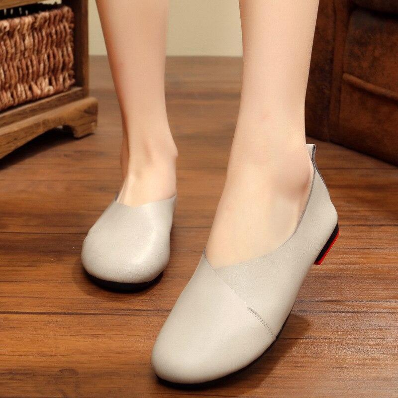 Retro Donna 34 Size Ballet Leather Shoes verde Beige Large bianco Rosso Militare vino Authentic marrone Flexible 3022 Women 2018 Flat Loafer nero Cow grigio Summer 43 Muscolare 8qwt6Z7