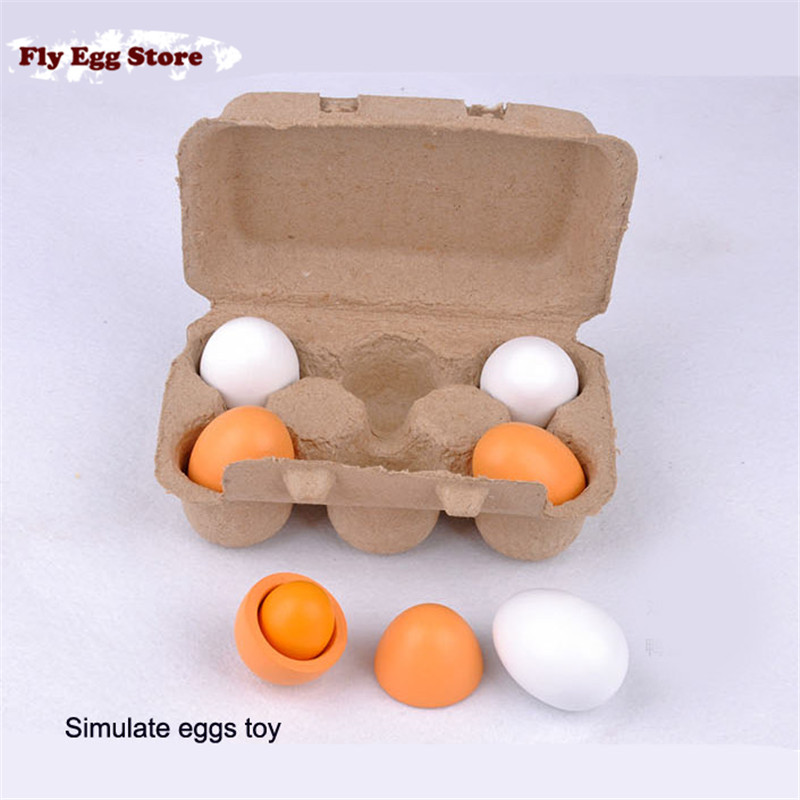 Фотография Toy for girl Chicken egg Duck egg Wooden simulate york kitchen food toys set Pretend house play doll toy for kids Birthday gift
