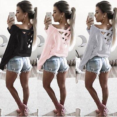 New Fashion Womens Loose Long Sleeve Tops Summer Back Cross T Shirt Casual Cotton  Women T-Shirt Clothing