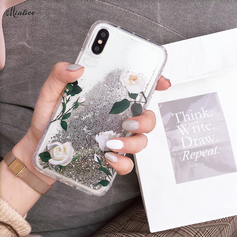 Glitter QuickSand Phone Case for iphone X 6 6s 6plus 7 7 Plus 8 8plus Fashion 2018 Flower Pattern Case Cover girl style
