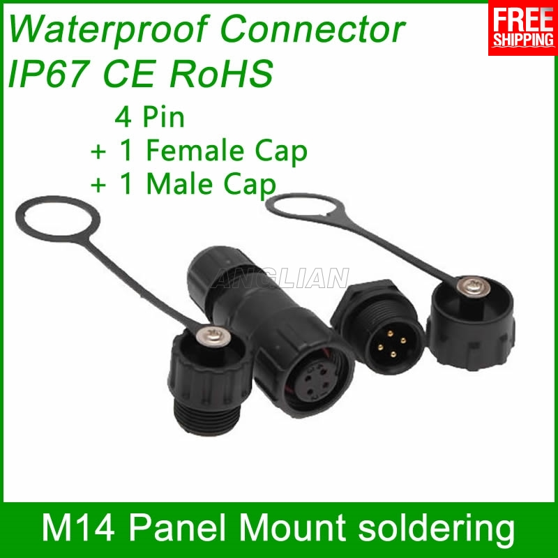 цена на Free Shipping M14 waterproof Connector electric wire male female plug IP67 led outdoor display cable socket Panel Mount 1 unit