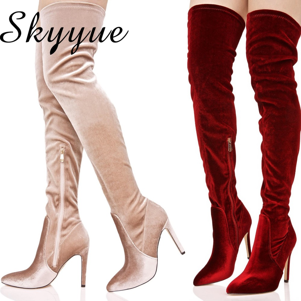 SKYYUE New Suede Leather Gladiator Over The Knee HIgh Thigh HIgh Boots Sexy Pointed Toe Zip Side Women Winter Boots Sheos Women hot boots women sexy black thigh high boots peep toe soft leather back zip high heels over the knee boots gladiator sandal boots