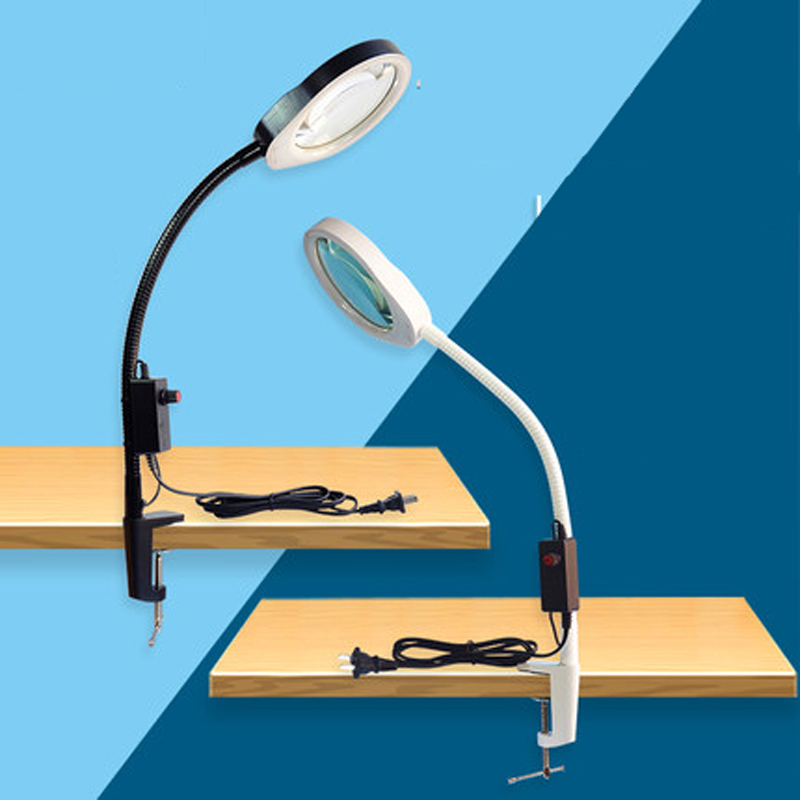 LED light clip type Desk Lamps magnifying glass reading lead beauty electronic repair hardware plastic test table lampLED light clip type Desk Lamps magnifying glass reading lead beauty electronic repair hardware plastic test table lamp