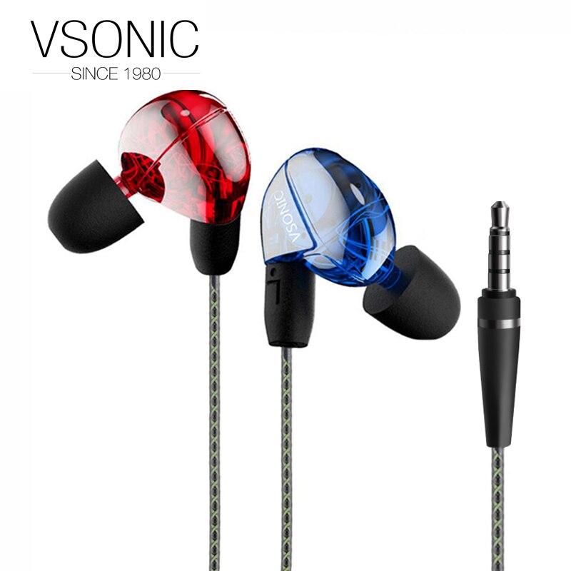 VSONIC VSD2 VSD2S Professional Noise-isolation HIFI Inner-Ear Earphone vsonic new vsd2si with microphone vsd2s professional noise isolation hifi inner ear earphone headset earbugs