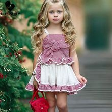 Chivry 2Pcs Girls Plaid Bowknot Bandage Sleeveless Tops Vest + Pleated Culottes Princess Dress Baby Summer Clothing Set