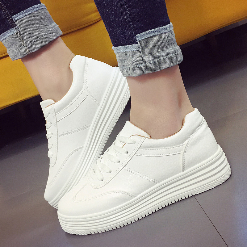 Fashion Women Flats Summer Leather Creepers Platform Sneakers Causal Shoes Solid Basket Femme White Black women creepers shoes 2015 summer breathable white gauze hollow platform shoes women fashion sandals x525 50