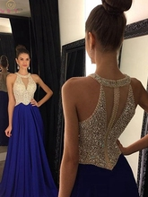 Royal Blue Halter Neck Evening Dress Luxury Handmade Beading Sexy Back Hot Sale 2019 Elegant Satin Sleeveless Formal Prom Gowns