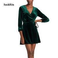 Susi Rita Elegant V Neck Wrap Dress Women Winter Long Sleeve Velvet Dress Femme 2017 Short