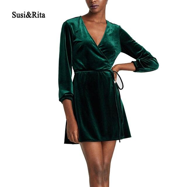 Суси & Рита элегантный v-образным вырезом Обёрточная бумага платье Для женщин зима с длинным рукавом Вельветовое платье Femme 2017 короткие Платья для вечеринок пасечник