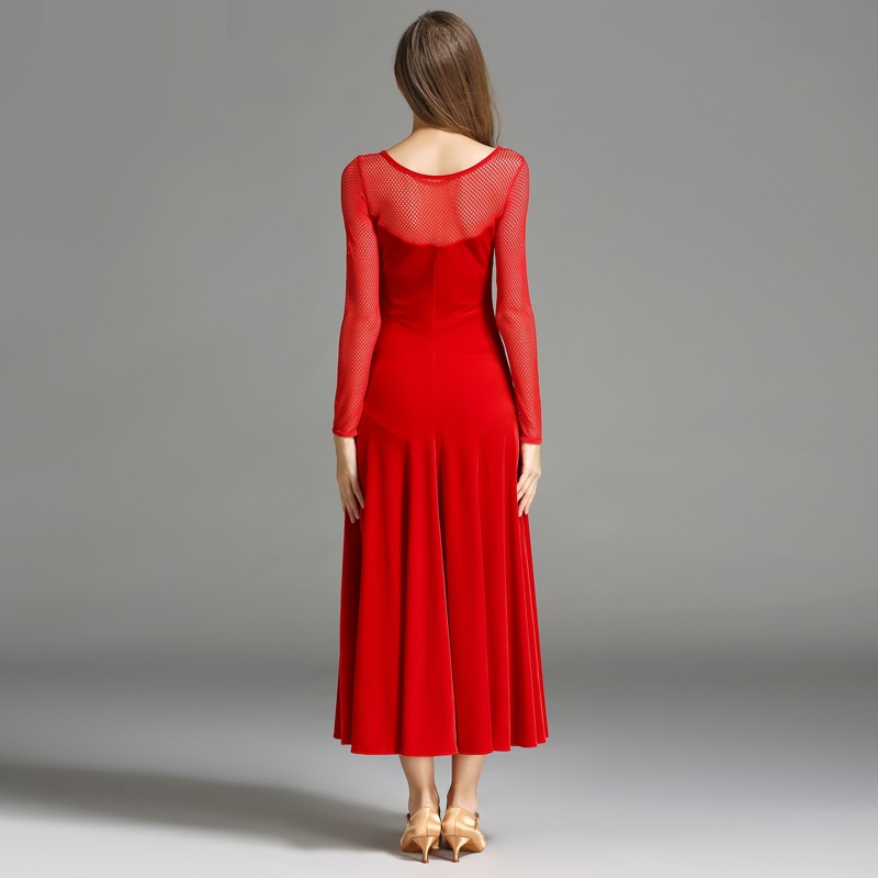 b3da64aba black velvet long sleeves ballroom dance dresses red flamenco dress woman  waltz dress transparent splicing luminous costumes-in Ballroom from Novelty  ...