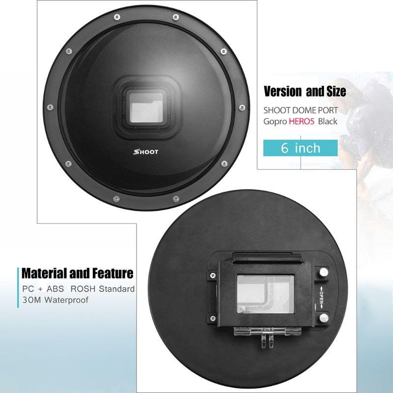 Port dôme de plongée 6 pouces pour caméra GoPro Go Pro 7 6 5 caméra de sport noire avec boîtier étanche dôme pour Gopro 7 6 5 accessoire - 6