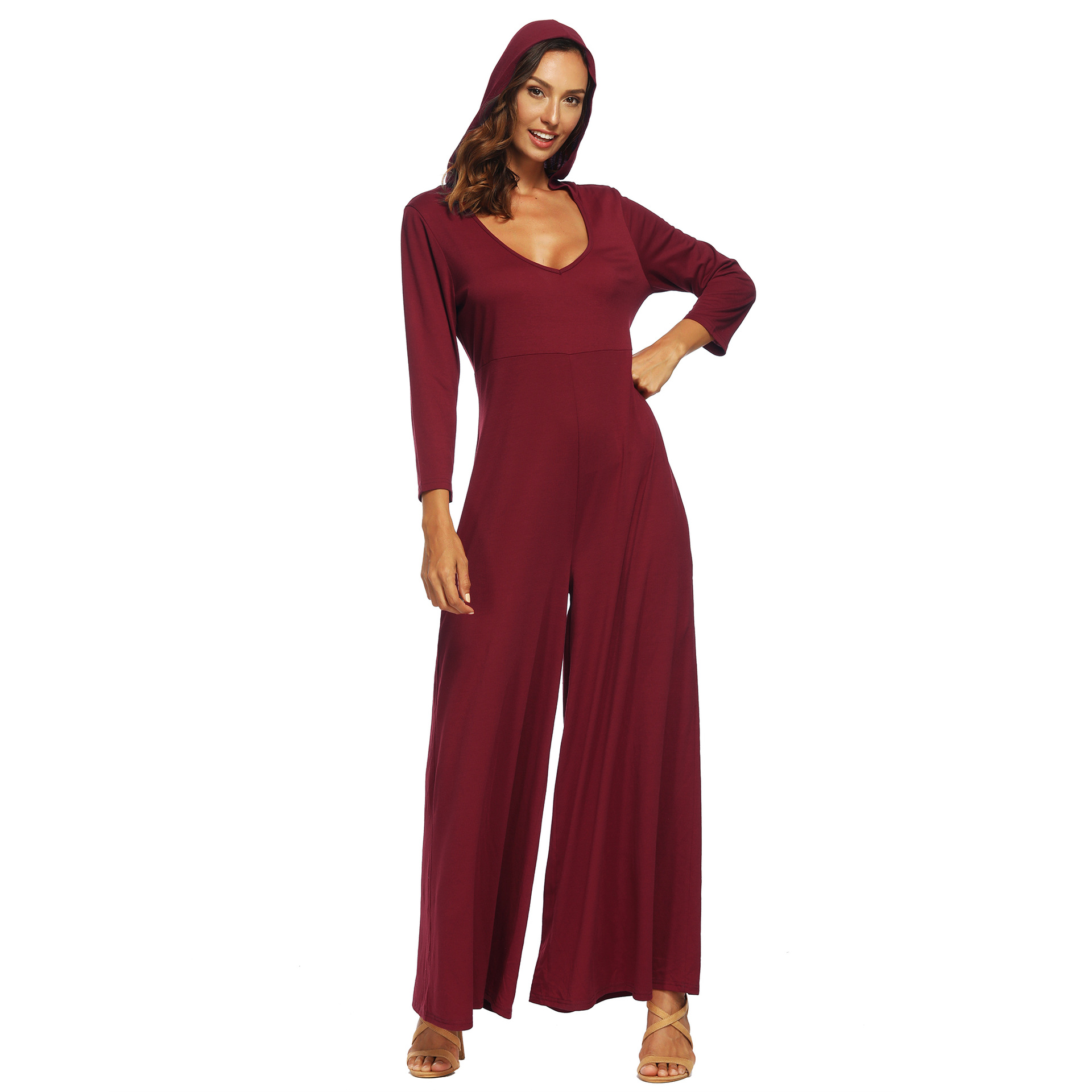 a27a4820a770 2019 2019 New Deep V Neck Hooded Rompers Womens Jumpsuit Casual ...