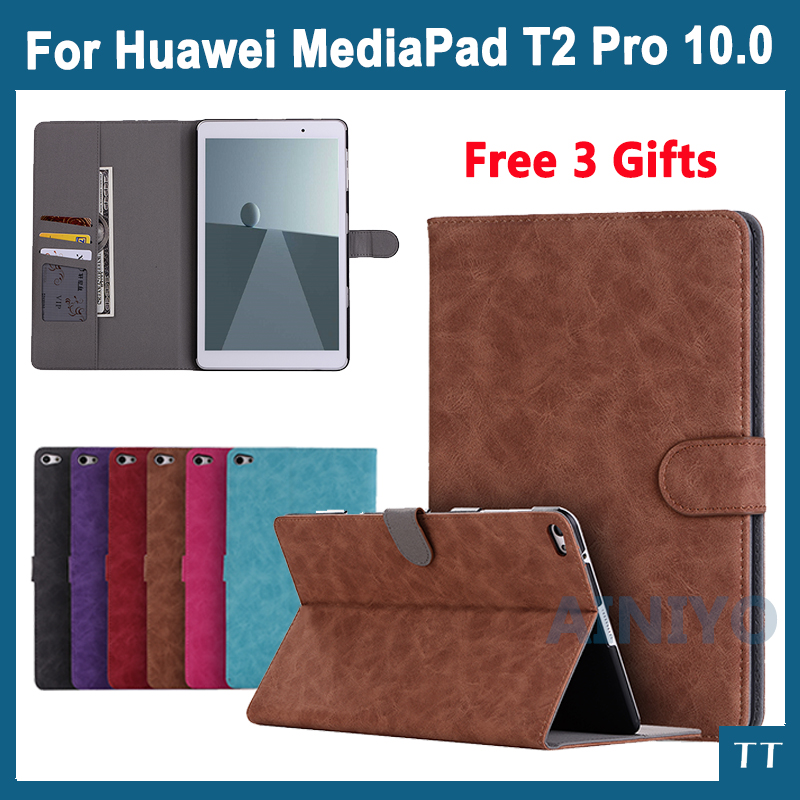 Newest Pu Leather Case Cover For Huawei MediaPad T2 Pro 10.0 FDR-A01W FDR-A03L 10. 1 Tablet PC protective case+Screen film pu leather case cover for huawei mediapad yougth t2 pro 10 inch tablet tpu protective case for huawei m2 fdr a01w fdr a03l gifts