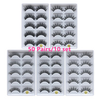 50 Pairs 3D Mink Hair Natural Cross False Eyelashes Long Messy Makeup Fake Eye Lashes Extension Make Up Beauty Tools maquiagem