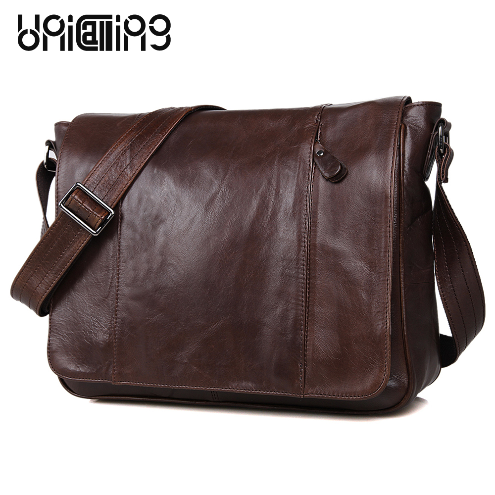 Messenger bag men leather UniCalling fashion quality cowhide genuine leather men bag casual men leather bag laptop bag 14 inch unicalling brand men genuine leather bag