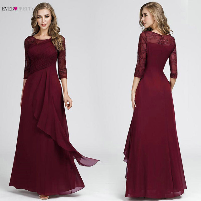 Plus Size Prom Dresses 2020 Elegant Half Sleeve O-neck Burgundy A-line Sexy Chiffon Lace Appliques Cheap Vestidos De Festa 5