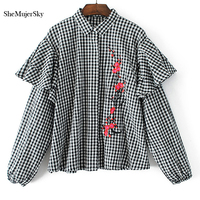 SheMujerSky Womens Tops And Blouses Plaid Blouse Floral Embroidery Shirts Long Sleeve Blusa Mujer 2017