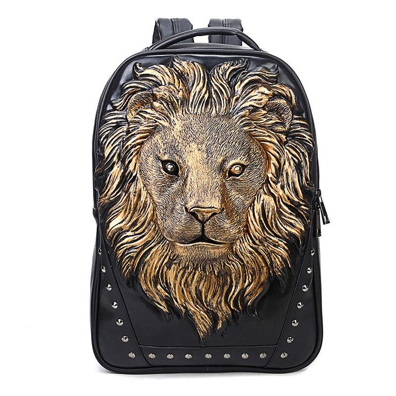 3D mode Lion PU individualité sac à dos pour ordinateur portable Fit pour 10-15.6 pouces ordinateur portable