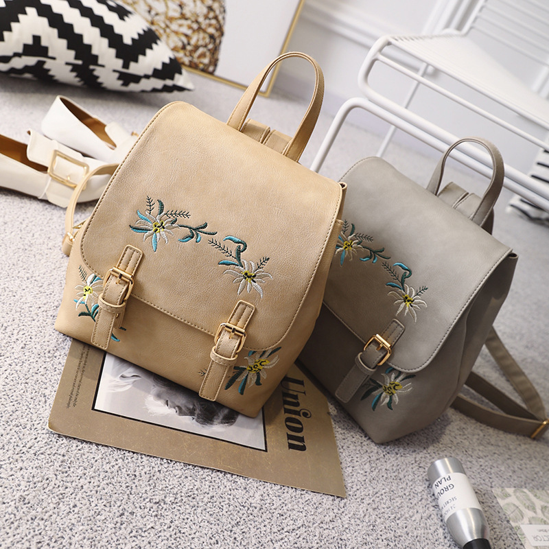 Fashion Women Leather Backpacks Female School Bags for Girls Rucksack Small Floral Embroidery Flowers Bagpack Mochila Travel Bag in Backpacks from Luggage Bags