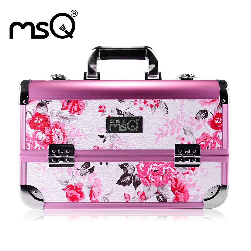MSQ Make Up Bag Pink And Portable Cosmetic Bags For Professional Makeup Artist Toiletry Case