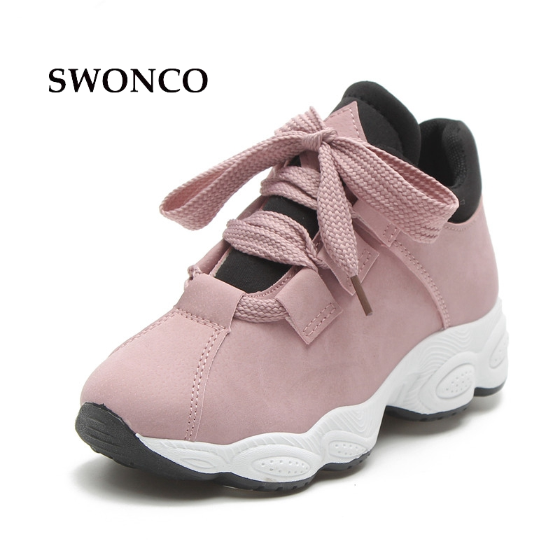 SWONCO Women's Vulcanize Shoes 2018 Spring Autumn Thick Sole Female Sneakers Platform Shoes Women Sneakers Casual Woman Shoe sneakers woman 2018 spring and autumn season new pattern korean plate thick bottom chalaza casual old women s shoes