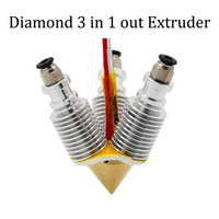Brass Diamond 3 In 1 Out Extruder For E3d V6 Reprap Hotend Heatsink Multi 1 75