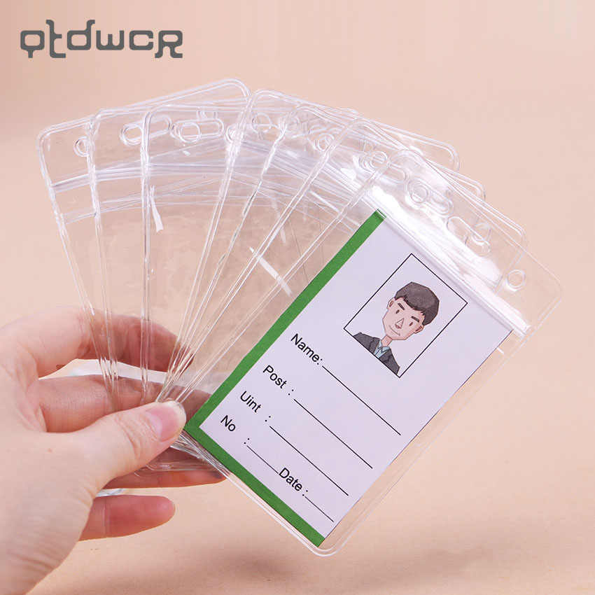 10PCS Transparent PVC Vertical and Horizontal Version Style Holes Student ID Name Badge Holder Office Supplies