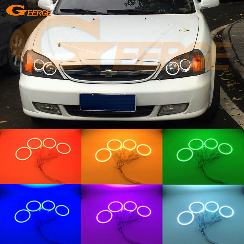 For Chevrolet Epica 2004 2005 2006 Excellent Angel Eyes Ultra bright RGB Multi-Color LED Angel Eyes Halo Rings kit led light super bright led angel eyes for bmw x5 2000 to 2006 color shift headlight halo angel demon eyes rings kit