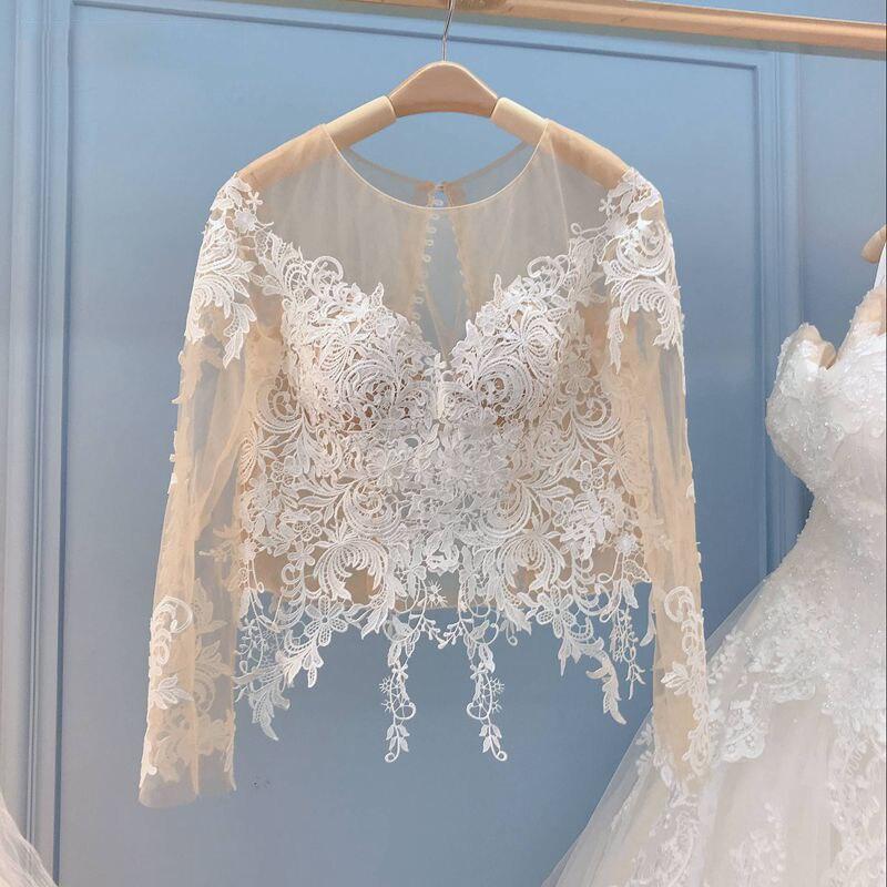 2019 dentelle mariage boléro veste Champagne enveloppes manches longues Boleros pour robe de mariée couverture Illusion cou transparent col en v Applique