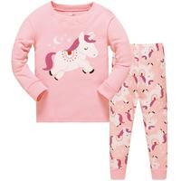 Sweet Dreams Baby Girl Snug Fit Pajamas Printing Pattern, Cute Unicorn/Princess Toddler Pajamas, Kids PJ Set, Pink Sleepwear