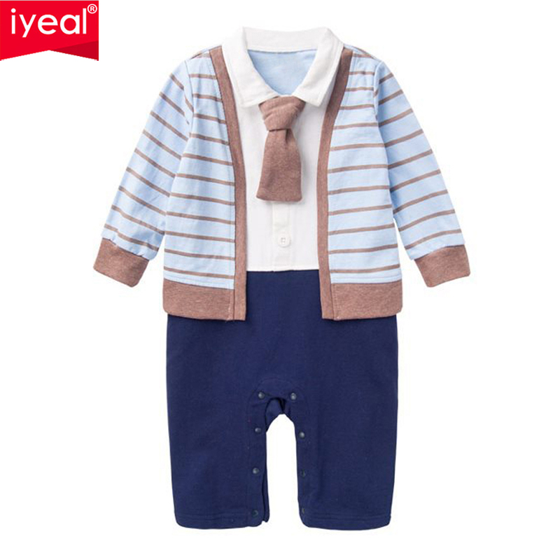 IYEAL Newborn Baby Clothes Children Clothing Gentleman Kids Boy Fake Two Pieces Striped Jumpsuit Fashion Toddler Boy Rompers