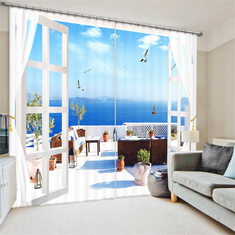 Window Treatments Home Textile Seaside Scenery 3d Painting Blackout Curtains Office Bedding Room Living Room Sunshade Window Bedding Set Custom-made Size For Fast Shipping
