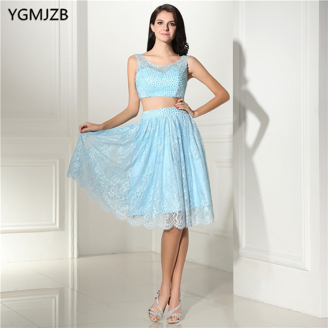Elegant Lace Cocktail Dresses for Homecoming A line Scoop Beaded Knee Length Blue Two Piece Prom Dresses Party Gown