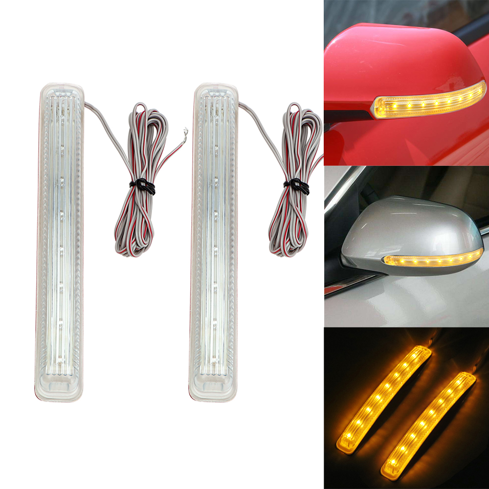 2PCS LED Car Turn Signal Light Auto Rearview Mirror Indicator Lamp Soft Flashing FPC Universal Yellow 8 SMD Amber Light Source 4 pcs motorcycle universal black led mini bar turn signal light indicator blinker light 12v 9led waterproof yellow