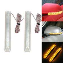 2PCS LED Car Turn Signal Light Auto Rearview Mirror Indicator Lamp Soft Flashing FPC Universal Yellow